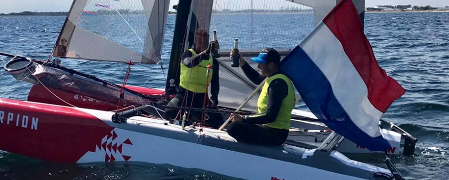 f18 worlds, deck sweeper, catamaran, sailing, winning